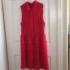 Anthropologie Red Button Down Dress